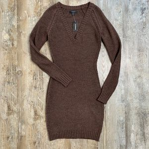 NWT Express Brown Knit Fitted V-neck Sweater Dress